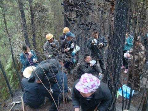 Người dân làng Ba Châu tham gia dập lửa