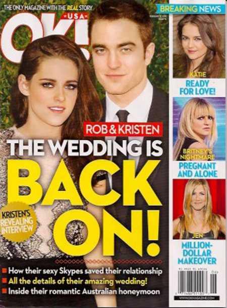 Tờ OK loan tin Robert Pattinson và Kristen Stewart đã tổ chức đám cưới