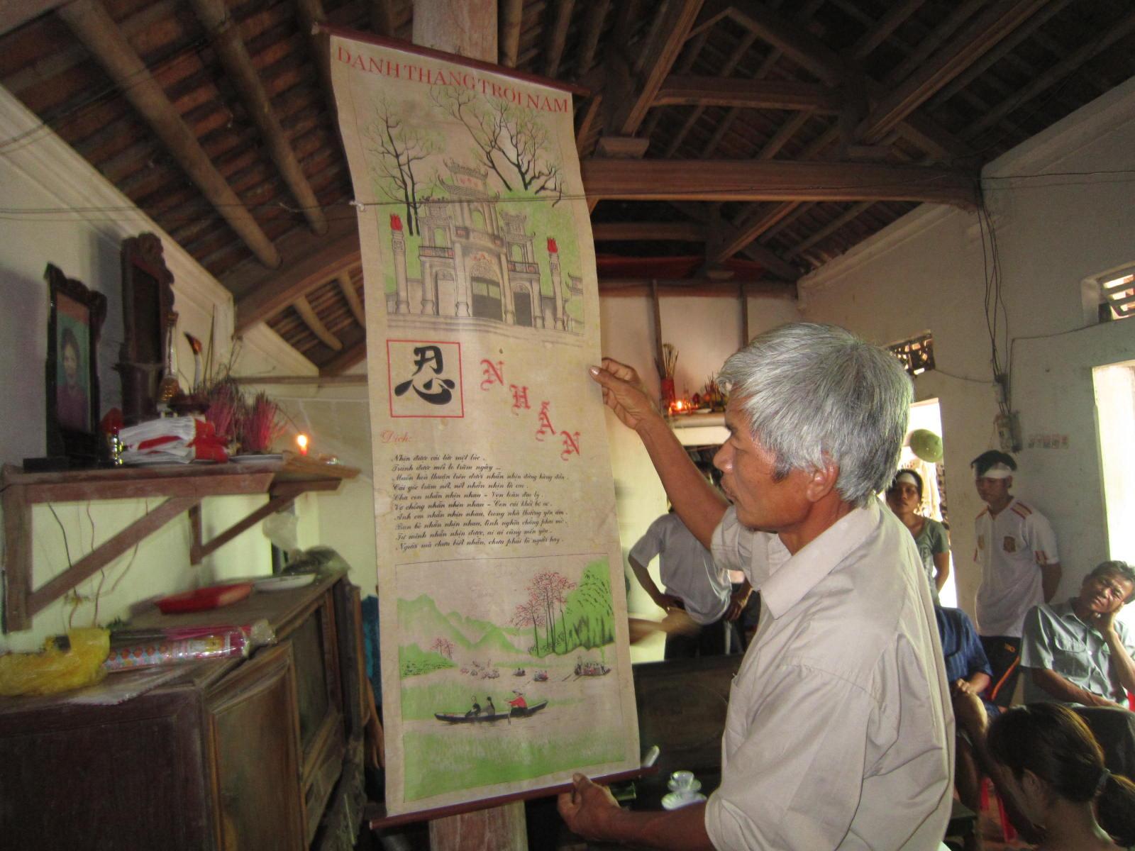 Bức tranh Đền Hùng và chữ