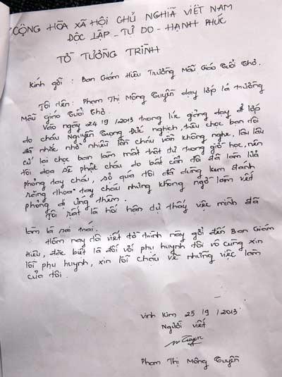 Nét chữ của cô Tuyền trong bản tường trình sự việc