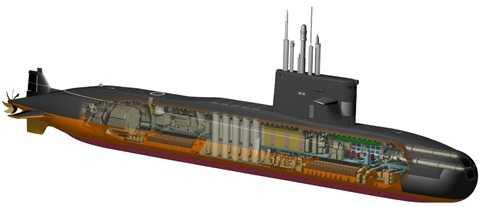 Đồ họa thiết kế của tàu ngầm lớp Lada