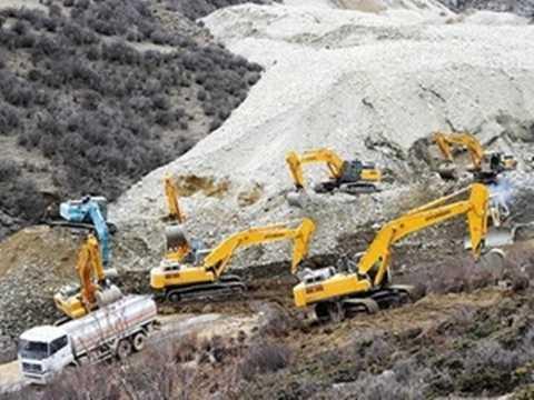 Một công trường khai thác ở Tây Tạng