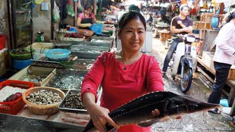 Cá tầm Trung Quốc mập, ngắn, cá tầm Việt Nam thon, dài. (Ảnh: An ninh thủ đô)