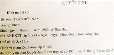 Quyết định đình nã của Công an tỉnh Đồng Nai với Nam