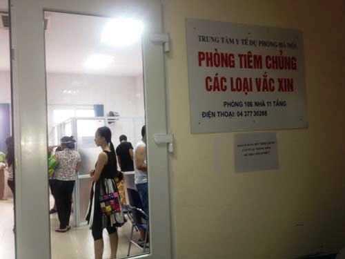 Phòng tiêm vắc xin ở Trung tâm Y tế Dự phòng Hà Nội.