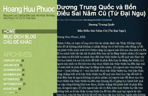Bài viết của ông Hoàng Hữu Phước về đại biểu Dương Trung Quốc trên blog đã được gỡ bỏ.