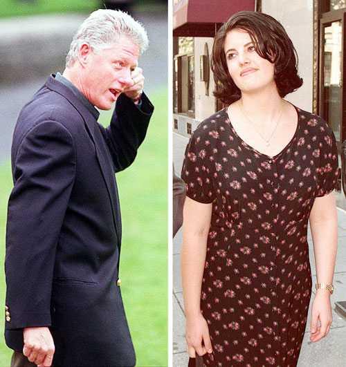Cựu Tổng thống Bill Clinton từng đau đầu giấu diếm vụ ngoại tình với cô thực tập sinh Monica Lewinsky (trái)