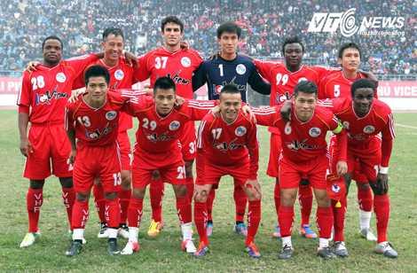 Đội hình XM Hải Phòng ở trận giao hữu với ĐT Việt Nam (Ảnh: Quang Minh)