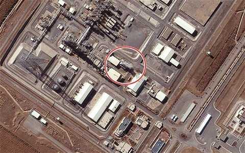 Hình ảnh chụp từ vệ tinh cho thấy làn hơi nước bốc lên từ nhà máy nước nặng Ara