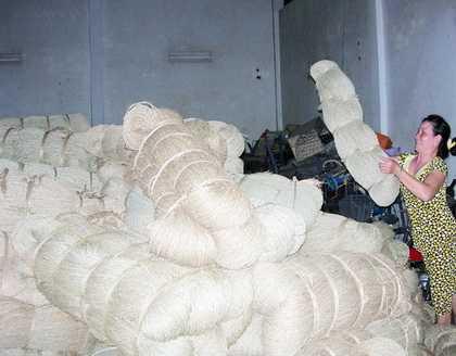 Nguyên liệu đan đát của HTX Ngọc Bích chủ yếu là dây cói, lát, lục bình, dây chuối khô. Ảnh: Ái Nam