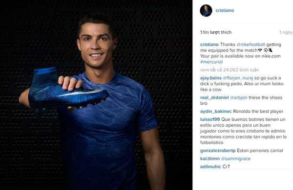 Status Facebook quảng cáo giày Nike của Ronaldo