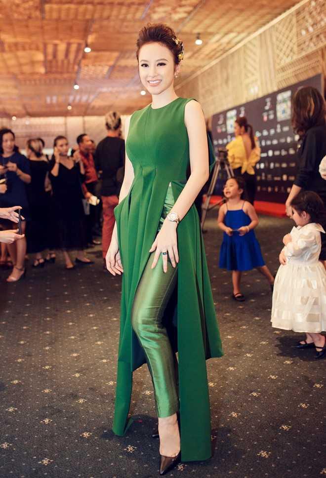 Tham dự đêm cuối cùng của Tuần lễ thời trang   Việt Nam quốc tế - xuân hè 2016, Phương Trinh diện trang phục tông xanh   lá đậm.