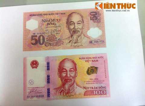 Hình ảnh mặt trước của tờ 100 đồng và   tờ 50 đồng, hai tờ tiền lưu niệm của ngân hàng Nhà nước Việt Nam đang   dược dư luận quan tâm.