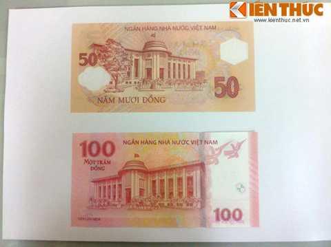 Cũng như tờ 100 đồng sắp   phát hành trong tháng 4 này, tờ 50 đồng chỉ có mệnh giá tượng trưng,   không có giá trị thanh toán trong lưu thông. Khi đặt hai tờ tiền cạnh   nhau, kích thước không quá chênh lệch.