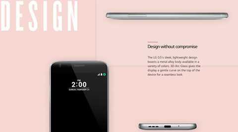 Tài liệu quảng cáo khẳng định LG G5 có thân hợp kim kim loại.