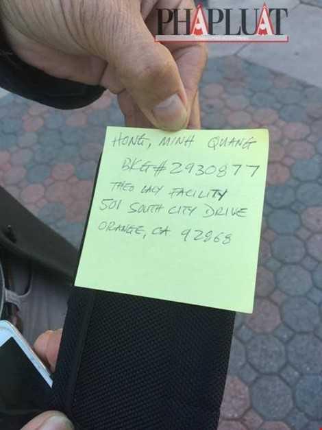 Địa chỉ cảnh sát trại giam ghi để chuyển đồ vào cho Minh Béo. Hình: Trung Dương