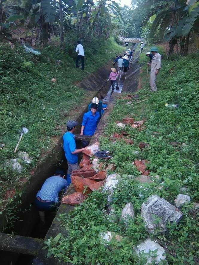 Đoàn viên, thanh niên huyện Thạch Thành   (Thanh Hóa) nạo vét kênh mương để dẫn nước từ hồ Đồng Ngư về thị trấn   Kim Tân cho Nhà máy nước Kim Tân hoạt động - Ảnh do Huyện đoàn Thạch   Thành cung cấp