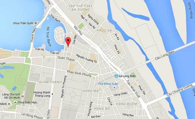 Phố Châu Long cách hồ Tây khoảng 1 km. Ảnh: Googlemaps.