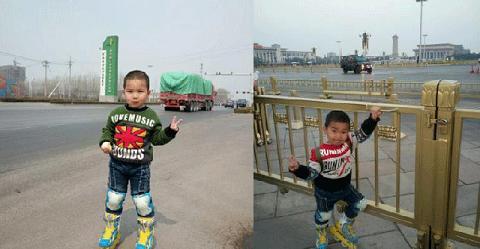 Đứa con trai 4 tuổi của anh Zhang trên đôi giày trượt patin
