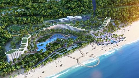 Khách sạn FLC Luxury Hotel Quy Nhơn (dài gần 1km) thuộc Quần thể sân golf, resort, biệt thự nghỉ dưỡng và giải trí cao cấp FLC Quy Nhơn - dự kiến khai trương toàn bộ ngày 29/6/2016