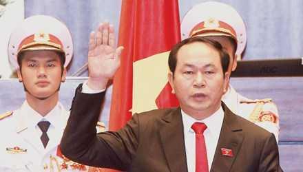 Chủ tịch nước Trần Đại Quang tuyên thệ tại Quốc hội sau khi nhậm chức.