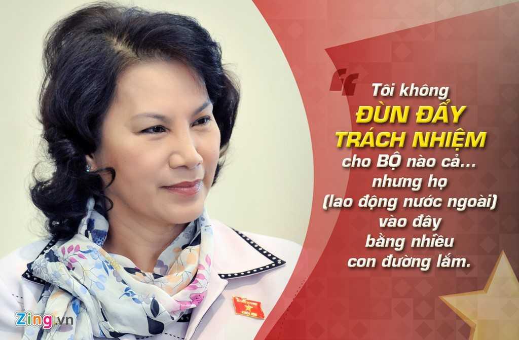 Bà Nguyễn Thị Kim Ngân - Bộ trưởng LĐ-TB-XH trả lời chất vấn Quốc hội ngày 11/6/2009. Bà Ngân cho hay bộ sẽ phối hợp với các bộ ngành liên quan triển khai đồng bộ các giải pháp quản lý lao động phổ thông người nước ngoài.