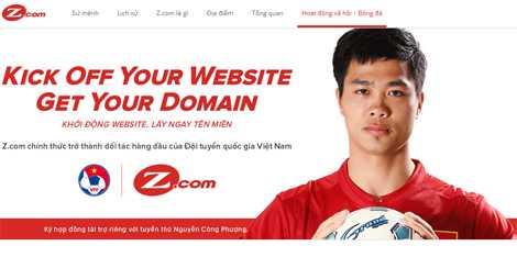 Hình ảnh Công Phượng trên website Z.com phiên bản tiếng Việt
