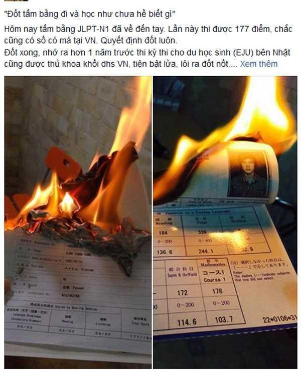 Cử nhân một trường đại học ở Hà Nội chia sẻ ảnh đốt học bạ, bằng đại học gây ra tranh cãi trên mạng.