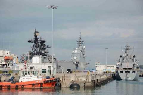 Một góc căn cứ hải quân Changi và những tàu chiến các nước ADMM+
