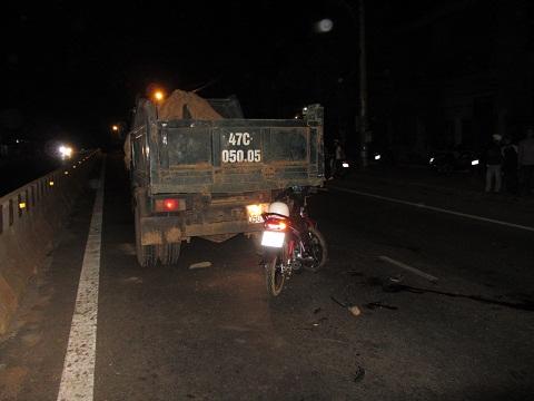 Hiện trường vụ tai nạn khiến anh Hoành tử vong trên đường đi cấp cứu Ảnh:Thanh Hải