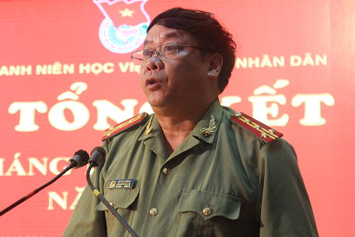 Đại tá, PGS.TS Lê Văn Thắng (PGĐ Học viện An ninh nhân dân) biểu dương các can bộ, giảng viên và học viên Học viện An ninh phát biểu tại chương trình.