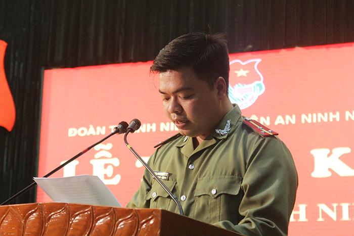 Thượng úy Dương Xuân Khiêm - Bí thư Đoàn Thanh niên Học viện An ninh.