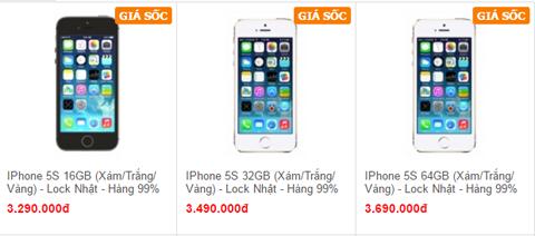 Giá bán iPhone 5S bản khóa mạng Nhật của 1 đơn vị. Ảnh chụp màn hình.