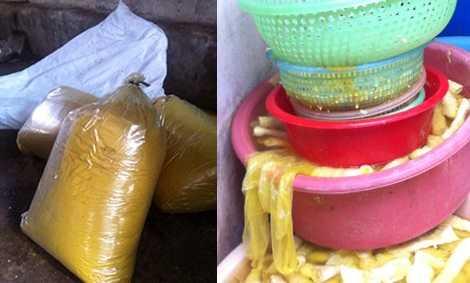 Chất bột màu vàng và hình ảnh măng tươi đã được nhuộm vàng bị phát hiện