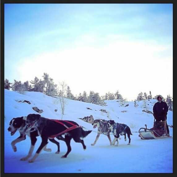 Trượt tuyết cùng những chú chó kéo xe ở Yellowknife. Ảnh: Instagram.