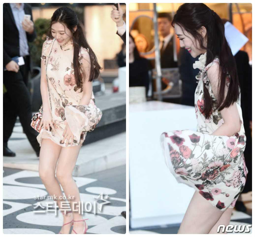 Nữ diễn viênSulli bị phóng viên chụp lại khoảnh khắc hớ hênh vì gió thổi tung váy khidiện đầm hoa quá ngắn tớisự kiện ngày hôm qua (29.3)