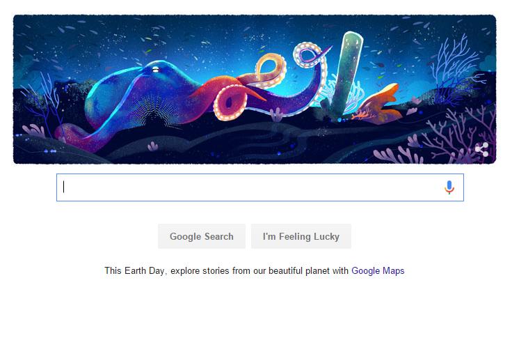 Môi trường biển cũng xuất hiện trong doodle