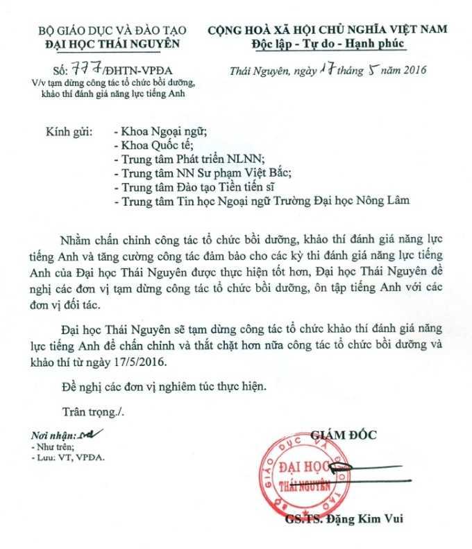 ĐH Thái Nguyên tạm dừng tổ chức bồi dưỡng, khảo thí đánh giá năng lực tiếng Anh kể từ ngày 17/5.
