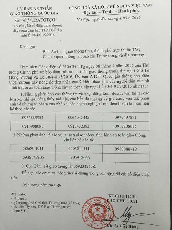 Danh sách số điện thoại đường dây nóng mà UBANGTQG công bố.