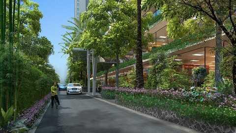 Hệ thống cây xanh 3 lớp với những căn hộ tầm nhìn hướng hồ góp phần tạo nên cuộc sống trong lành và đẳng cấp ở EcoLife Capitol