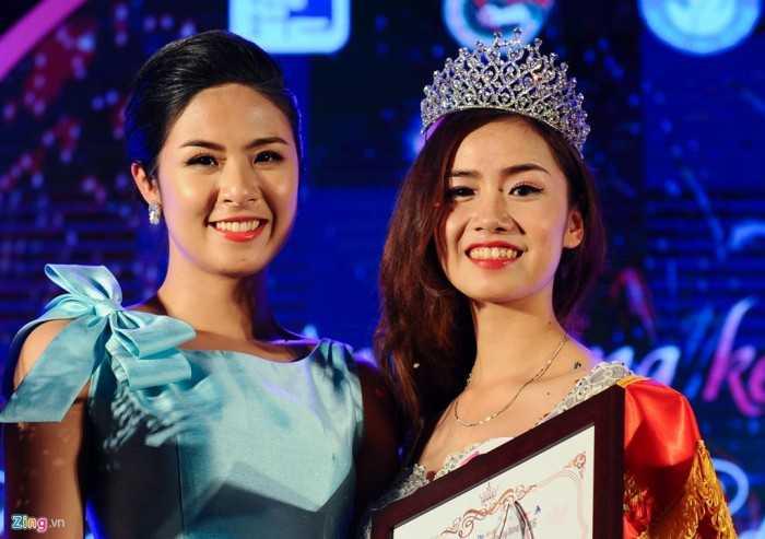 Việt Trinh và Hoa hậu Việt Nam 2010 Ngọc Hân, giám khảo của cuộc thi Duyên dáng Xây dựng 2016.