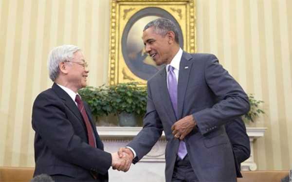 Tổng Bí thư Nguyễn Phú Trọng và Tổng thống Obama trong chuyến thăm Mỹ năm 2015