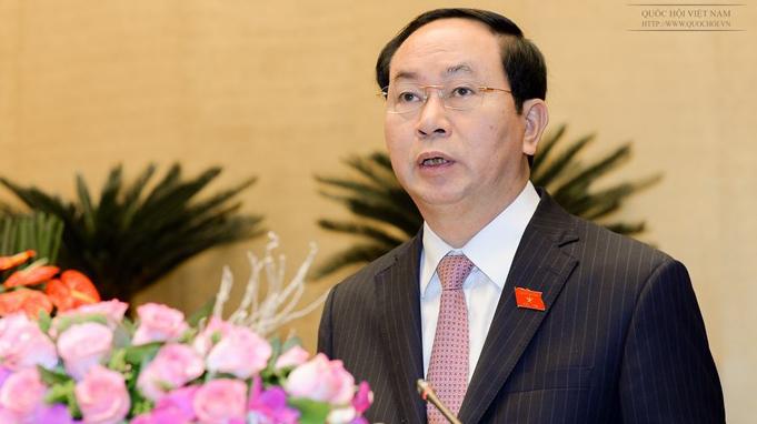 Chủ tịch nước Trần Đại Quang đã trình bày Tờ trình đề nghị Quốc hội miễn nhiệm chức vụ Thủ tướng Chính phủ đối với ông Nguyễn Tấn Dũng (Ảnh: Văn Bình)