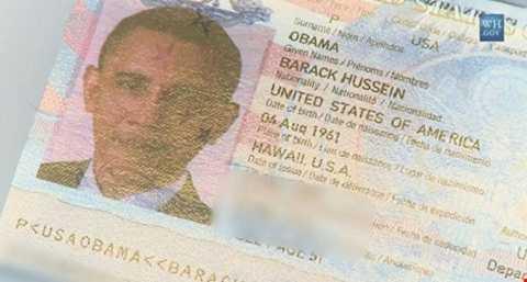 Hình ảnh trên tấm hộ chiếu của ông Obama