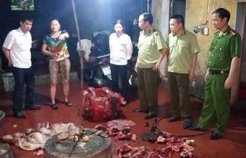 Lực lượng liên ngành kiểm tra, phát hiện gần 4 tấn sản phẩm lợn bốc mùi hôi thối, xuất hiện giòi, bọ