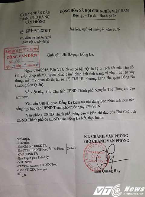 Công văn truyền đạt ý kiến chỉ đạo của Phó chủ tịch UBND TP Nguyễn Thế Hùng giao UBND Đống Đa kiểm tra những nội dung báo điện tử VTC News phản ánh.