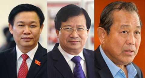 3 Phó Thủ tướng mới từ trái qua: Ông Vương Đình Huệ,ông Trịnh Đình Dũng và ông Trương Hòa Bình
