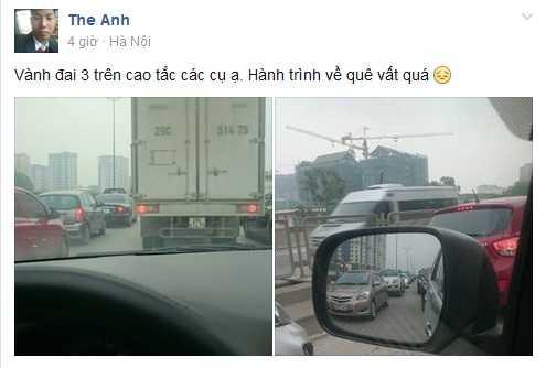 Facebook Thế Anh đăng tải hình ảnh tắc nghẽn ở đường trên cao sáng 30/4  (Ảnh chụp màn hình)