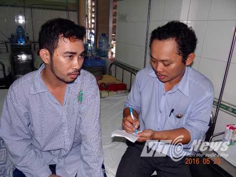 Nạn nhân Lê Ngọc Hoàn may mắn thoát chết thuật lại vụ việc cùng PV VTC News. Ảnh: Tử Long