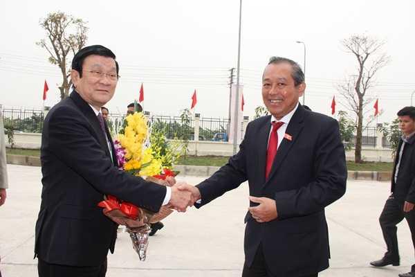 Ủy viên Bộ Chính trị, Chánh án TANDTC Trương Hòa Bình vui mừng đón tiếp Chủ tịch nước Trương Tấn Sang tại Học viện Tòa án